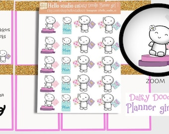 Planner girl Plan day planner stickers Doodle stickers Emoti Stickers Hand drawn stickers