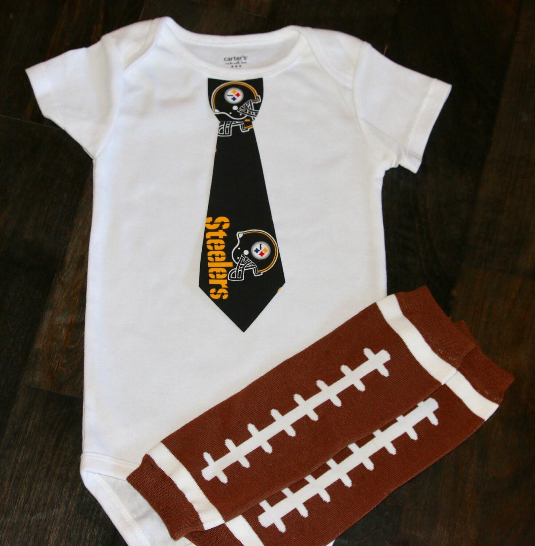 Pittsburgh Steelers boys Tie onesie or shirt AND football leg
