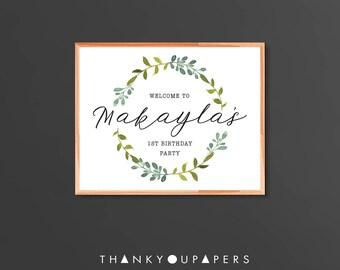 Custom green wreath greenery floral chalkboard sign babyshower wedding doljanchi birthday Printable Digital DIY