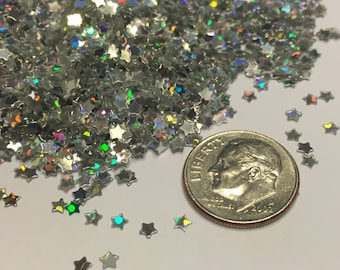 tiny silver star confetti / sequins, 3 mm (23)