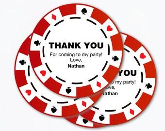 Etichetta poker carta grazie / stampabile pdf / casinò partito idee celebrazione compleanno poker chip sulla scheda