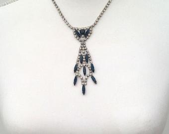 1930s necklace sautoir pendant blue glass and diamanté Art Deco vintage antique