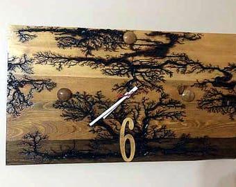 "21"" x 12"" Wood clock, wall clock, wall art clock, wooden clock lichtenberg wood hanging clock his/her holiday gift anniversary wedding gift"