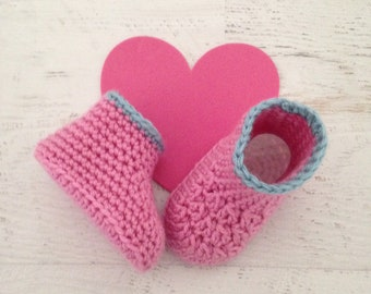 Cute Crochet Booties -  Pink and Aqua Baby Booties - 0 - 3 Month Size Baby Girl Crib Shoes - Ready To Ship Handmade Baby Gift