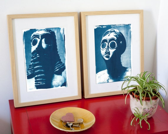 Pair of Sumerian Hollistic Sculptures, Cyanotype Prints on Watercolor Paper, A4 size (Limited Edition)