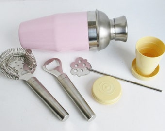 Barware Bar Tools, Pink Cocktail Shaker, Collapsible Cup,  Stainless Steel Set, vintage mod 1990s Bartenders Mixology, Cocktail Strainer