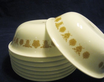8 Corelle Butterfly Gold Soup Cereal Ice Cream Bowls Vintage 1970s