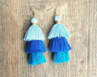 Three tier blue tassels earrings,Blue tassels,Blue earrings,tree Three shades blue.