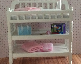 Miniature One Inch Scale Spindled Changing Table