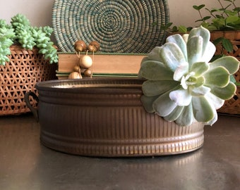 vintage oval brass planter rustic aged weathered