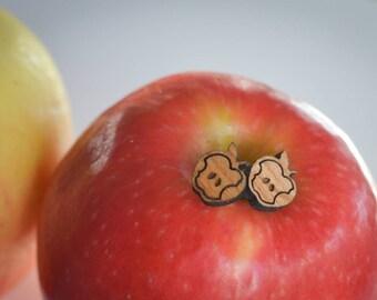 Wooden Apple Stud Earrings - LASER ENGRAVED