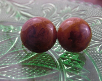 End Of Day Mississippi Mud Bakelite Thick Dome Screw Back Earrings Deep Swirl