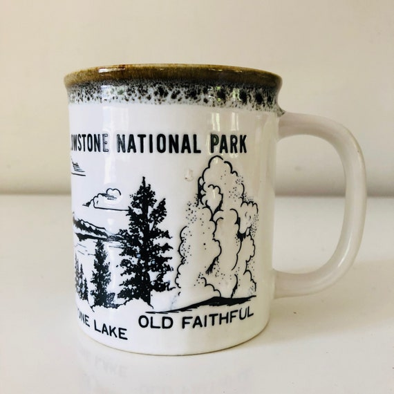 Vintage Souvenir Coffee Mug Black and White Ceramic Yellowstone National Park Landscape Deer Coffee Cup