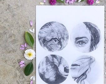 Wild Fox and Girl Boho Art Print