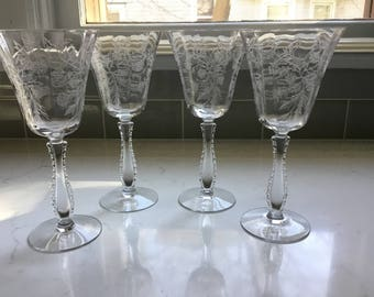 Antique Crystal Wine Glasses or Water Goblets - Set of 4 - Fostoria Heather
