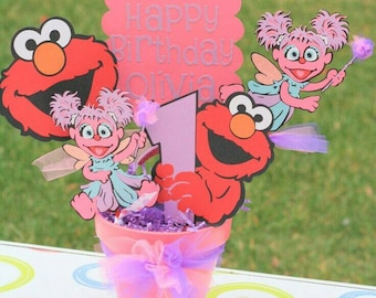 Abby Cadabby centerpiece, Elmo party, sesame street birthday, first birthday , pink and red decor. baby shower decor. centros de mesa