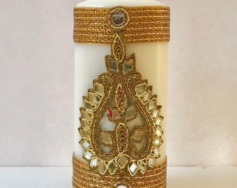 "Pillar Candle; 6"" Tall; Centerpiece; Decor; Favor; Gifts; Wedding; Shower; Sangeet, Mehendi, Rustic; Ethnic; Indian; Personalized; Customize"