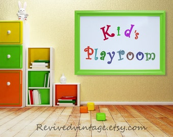 """KIDS PLAYROOM DECOR Wall Art Decor Large Whiteboard 41""""x29"""" Kids Room Green Red Yellow Framed Dry Erase Board Magnet Board White Dry Erase"""
