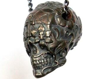 Sugar Skull Necklace Dark Oxidized Bronze Sugar Skull Pendant Necklace Day of the Dead 153