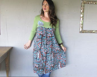 Tshirt dress upcycled clothing loose fit handmade summer dress Bohemian wearable art romantic large X L  Boho Fun clothes LillieNoraDryGoods