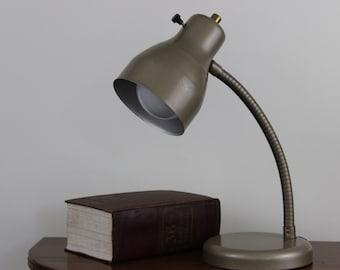 Vintage Gooseneck Lamp Mid Century Gold Toned Industrial Desk Lamp Retro Lighting