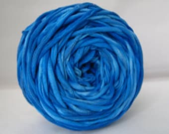 T Shirt Yarn, T-shirt Yarn, Hand Dyed- Marbled Neon Blue 60 Yards