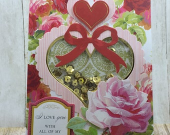 Valentine Shaker Card, Unique Handmade Card, Shaker Card