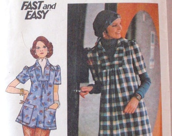 SALE - Vintage 70's Women's Sewing Pattern - Loose Fitting Dress and Top  - Butterick 4352 - Size 10, Bust 32 1/2