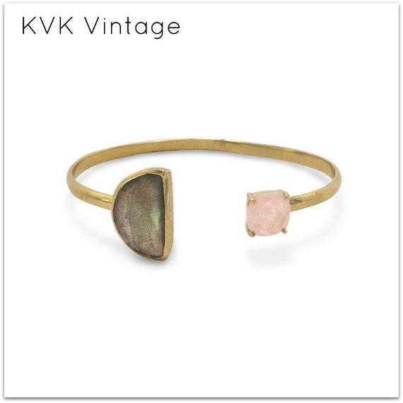14 Karat Gold Plated Multistone Cuff Bracelet