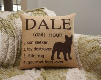 Burlap Pillow - Personalized Dog Pillow with Silhouette, Name and Definitions of Your Pup or Cat!