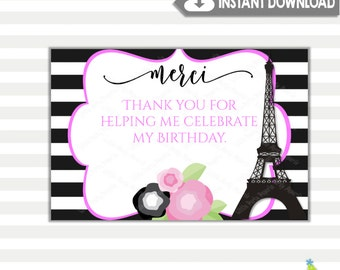 Paris Thank You Cards | Eiffel Tower Thank You Cards | Printable Thank You Cards | INSTANT DOWNLOAD | Design 17005