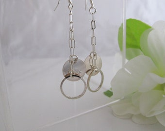 Flirty Dangle Earrings, Sterling Silver Circles & Rings