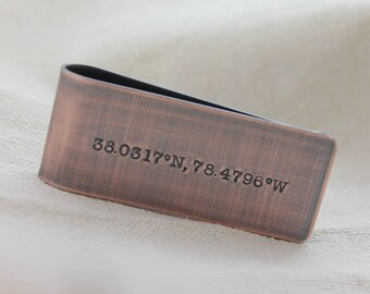 Coordinates Money Clip, Coordinates Gift for Men, Custom Coordinates, Personalized Money Clip, Custom Money Clip, Hand Stamped Money Clip