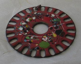 """SALE RED Retro Modern Copper Circle 3"""""""