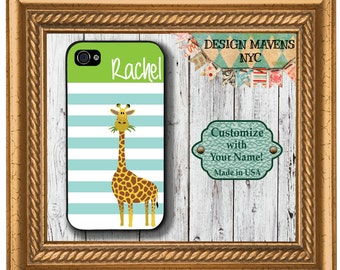 Preppy Giraffe Stripe Monogram iPhone Case, Personalized iPhone Case, iPhone SE iPhone 4, 4s, iPhone 5, 5s, 5c, iPhone 6, 6s, 6 Plus