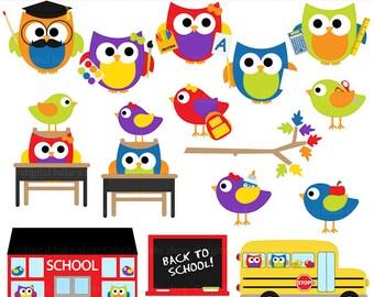 school owls birds clipart digital clip art - School Hoots and Tweets Digital Clip Art - BUY 2 GET 2 FREE