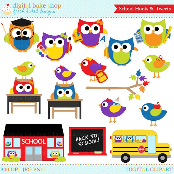 school owls birds clipart digital clip art school hoots and rh etsy com Shapes Clip Art for Teachers Educational Clip Art for Teachers