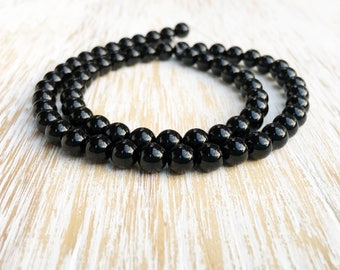 "Smooth Round 6mm Black Onyx Beads / 15.5"" Strand, Genuine Natural Gemstone Bead, Black Onyx Bead, 6mm Onyx Bead, Authentic Onyx Bead (G1011)"