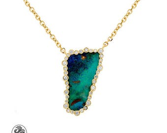 Opal Necklace, Yellow Gold Boulder Opal, Bezel Set Diamonds On Boulder Opal Necklace, Bezel Set Australian Opal Necklace | NEC02062