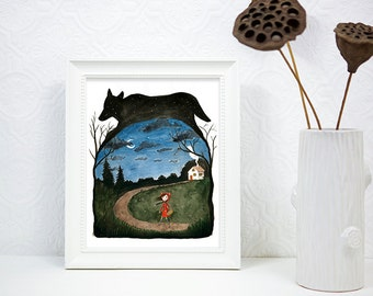 PRINT - Art Illustration, Watercolor Painting, Little Red Riding Hood & Wolf Silhouette, Starry Night 8x10