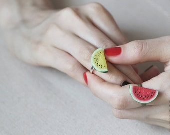 Yellow Watermelon Ring - Food Jewelry - Vegan Ring