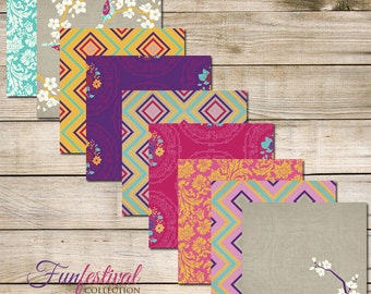"Funfestival Digital Scrapbook Paper Pack (12x12""-300 dpi) - 9 Digital papers"