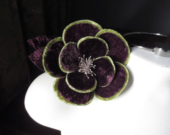 Plum & Green Rose Velvet Millinery Flower for Bridal, Hats MF 110