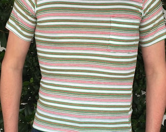 1960's SurFeR SkaTeR striPed CoTTon Tee t-shirt USA ARRoW cLassic CaMpUs running athletic pRePpY Ringer rockeR 50/50 MocK NecK T-ShiRt zTrZ2OS
