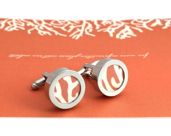 Paper Anniversary Gift / 1 Year Anniversary Gift for Him / First Year Anniversary Gift / Custom Cufflinks with Your Wedding Invitations