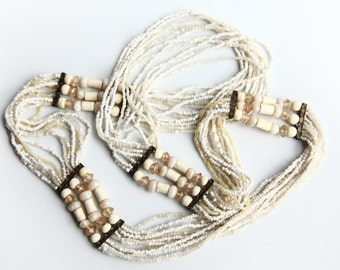"Vintage Multi Strand Ivory Glass Brass Beaded Necklace 31"" Long ~ Boho Ethnic Beads Bohemian Chunky Piece ~ Great Condition"