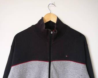 Tommy Hilfiger Full Zipper Jacket Sweater Sweatshirt Tommy Hilfiger Big Logo Spell Out Streetwear Large Size