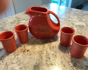 Excellent Fiesta Ware 60th Anniversary Disk Pitcher and 4 tumblers
