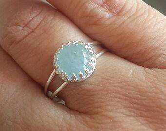 Aquamarine ring,birthstone ring,silver ring,march birthstone ,aquamarine ring silver,dainty ring,gemstone ring,aqua blue gemstone ring,gift