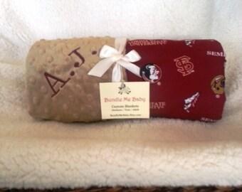 FSU Baby Blanket Minky Name Blanket Gift Set Burp Football Basketball PERSONALIZED Florida State Texas Alabama Arizona Auburn